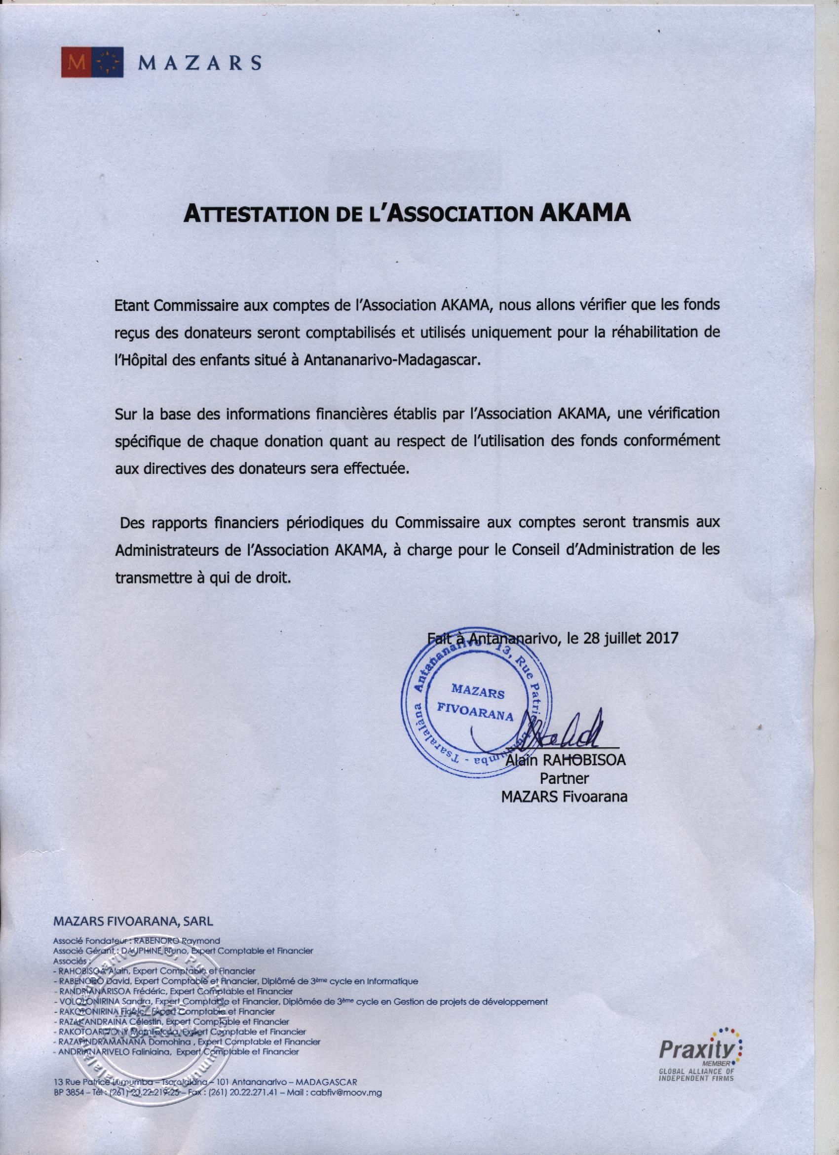 Attestation de l'association AKAMA